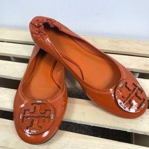 Tory Burch Orange patent leather ballet flats